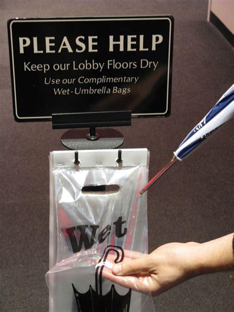 Wet Umbrella Bag Stands are Umbrella Bag Dispensers and