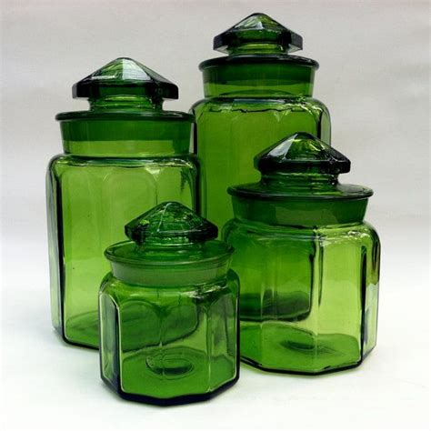 glass kitchen canister vintage 1960s le smith glass canisters kitchen