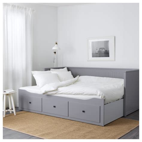 hemnes day bed w 3 drawers 2 mattresses grey moshult firm