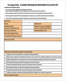student improvement plan template performance improvement plan exle 14 sles in word