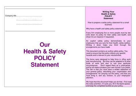 health and safety statement template policy statement template images