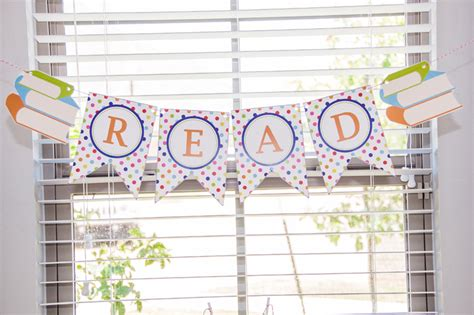 printable reading banner land of nod reading party book party free printables