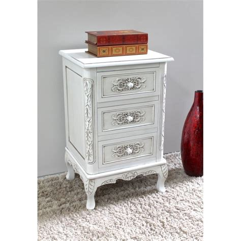 3 drawer end table in antique white 3948 aw