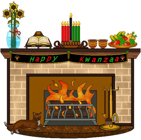Fireplace Clipart by Fireplace Clip Kwanzaa Decorated Fireplace