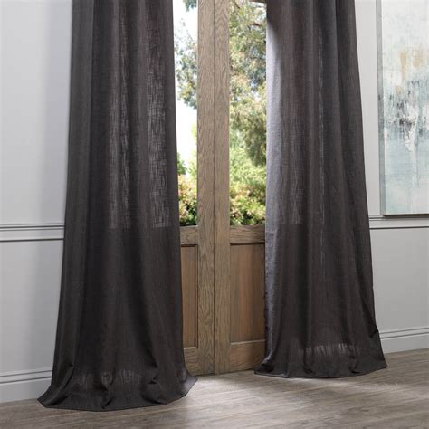 Heavy Grey Curtains Slate Grey Grommet Heavy Faux Linen Curtain Drapes