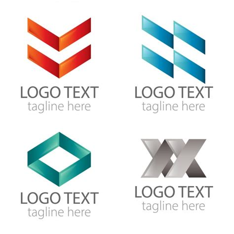abstract geometric logos pack vector free