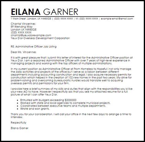 cover letter for an admin administrative officer cover letter sle livecareer