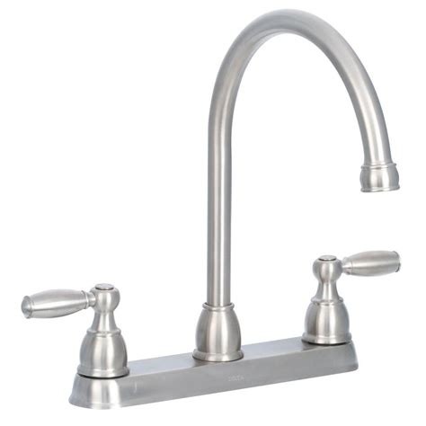 delta 2 handle kitchen faucet delta cassidy 2 handle standard kitchen faucet with side sprayer in polished nickel 2497lf pn