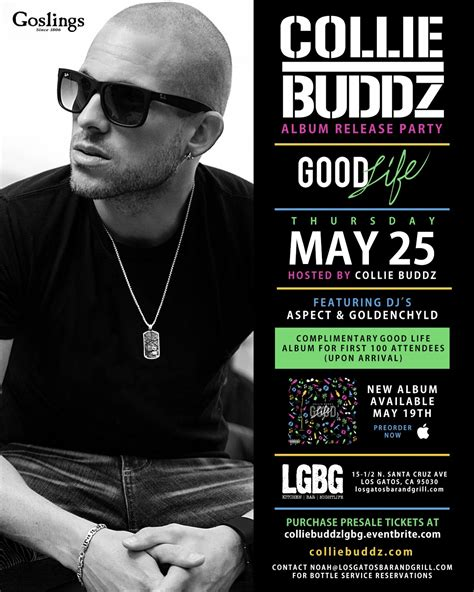 Collie Buddz New And Release Date collie buddz album release los gatos bar and grill