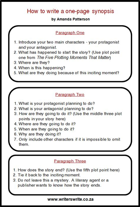 synopsis template how to write a one page synopsis writers write