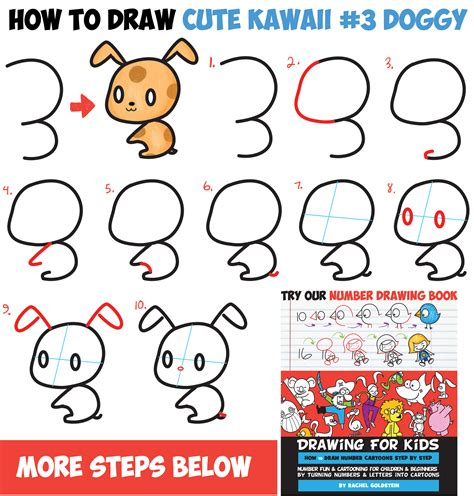 how to draw a puppy step by step how to draw chibi kawaii characters with number 3 shapes easy step by step