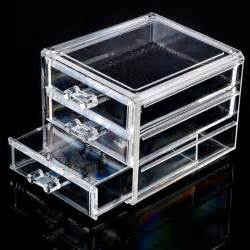 acrylic make up organizer 3 drawers storage box clear