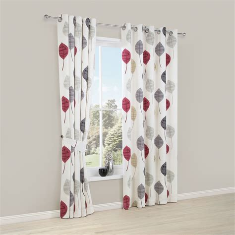 red and grey curtains dario beige grey red white floral printed eyelet lined