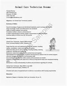 Animal Care Specialist Sle Resume by Resume Sles Animal Care Technician Resume Sle
