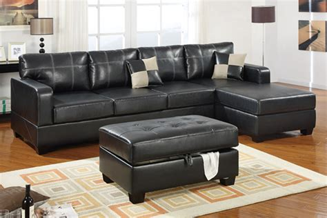 black sofa with chaise living room stylish modern black leather sectional couch