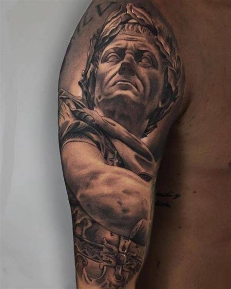 caesar tattoo black and grey julius caesar on the right arm