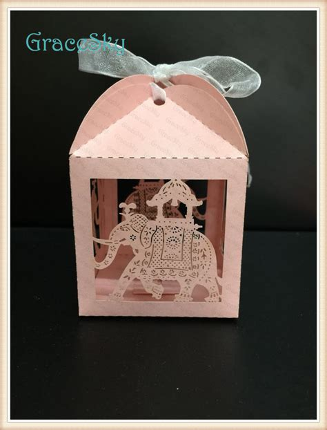Paper Craft Wedding - 100pcs free shipping laser cut indian style boxes