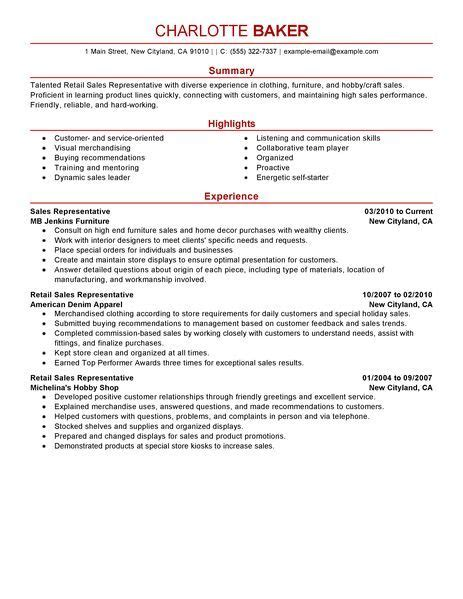 customer sales resume