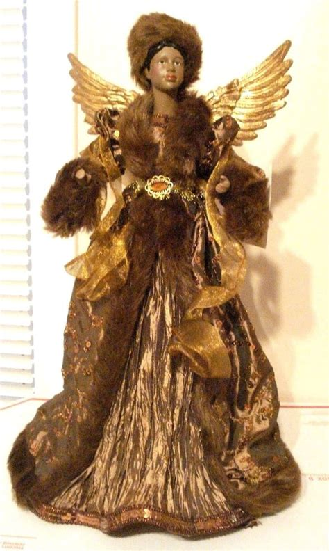 black tree angel black american tabletop tree topper 17 quot new ebay