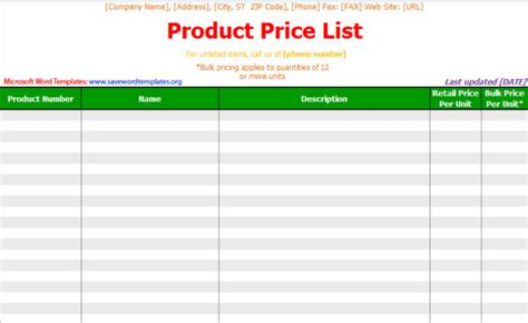 excel price list template pin word templates price list templates