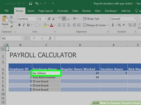 wages calculator how to prepare payroll in excel with pictures wikihow