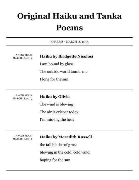 Padlet original haiku and tanka poems by K Harris