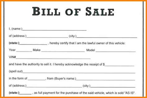 Bill Of Sale Word Document Vlashed Auto Bill Of Sale Word Template