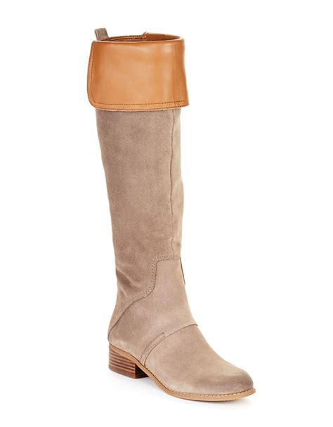 nine west suede nite racer boots in beige lyst