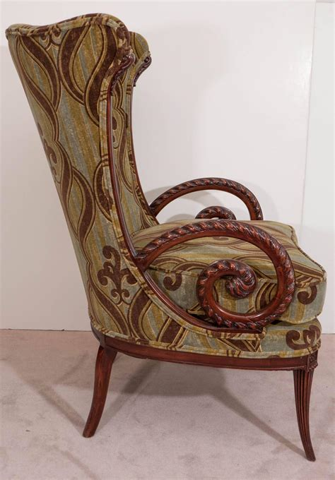William Morris Armchair by Mid Century Grosfeld House Mahogany Armchair With William
