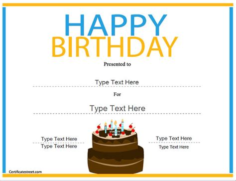 printable birthday certificate templates 25 birthday certificate template free sle exle