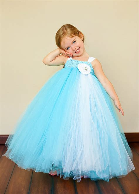 Dress Tutu Girly blue flower tutu dress blue and