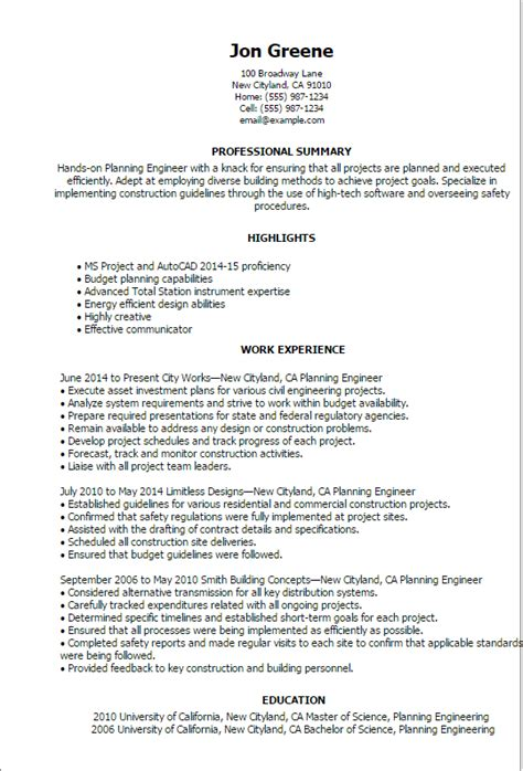 cover letter for planning engineer professional planning engineer templates to showcase your