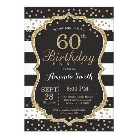 sle invitation for 60th birthday 60th birthday invitation black and gold glitter card