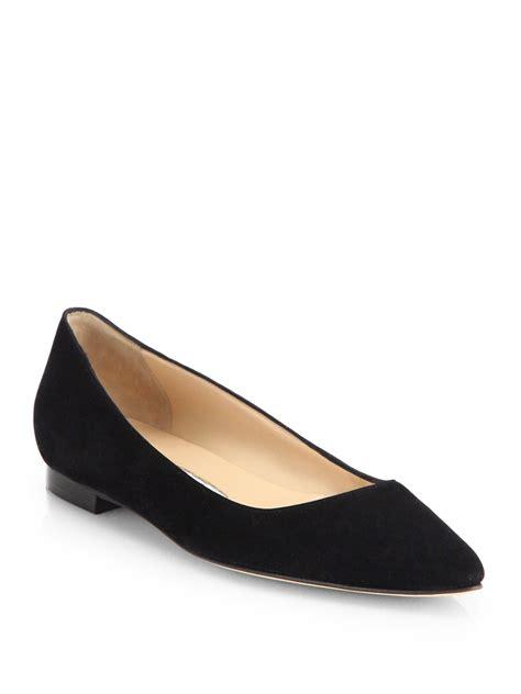 manolo blahnik flat shoes manolo blahnik mave suede point toe flats in black lyst