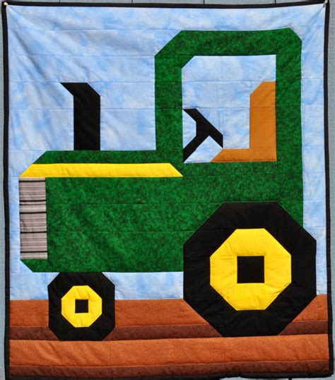 tractor quilt pattern in 3 sizes pdf by countedquilts on etsy