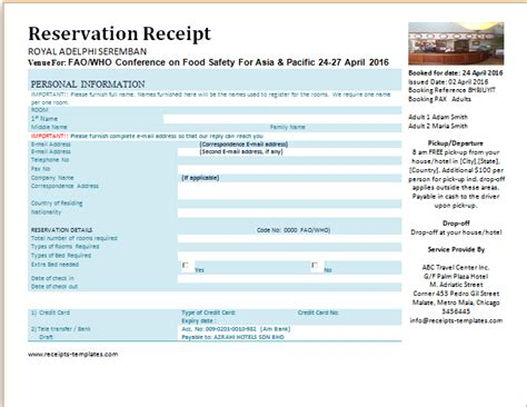 hotel confirmation email template printable formal reservation receipts templates receipt