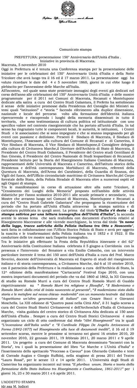 comunicato sta consiglio dei ministri centro studi civitanovesi 150 176 dell unit 224 d italia 1861