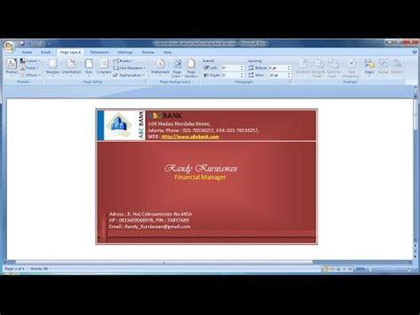 template kartu nama word 2007 belajar microsoft word 2007 cara membuat desain kartu
