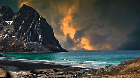 beautiful sky  mountain   sea hd wallpaper
