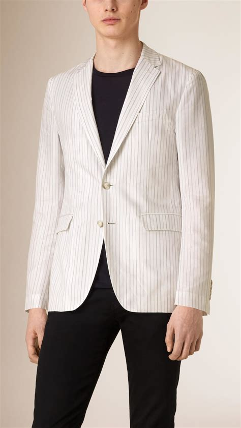 burberry slim fit striped cotton silk blend jacket in