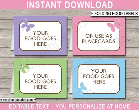 free food card templates butterfly food labels place cards printable