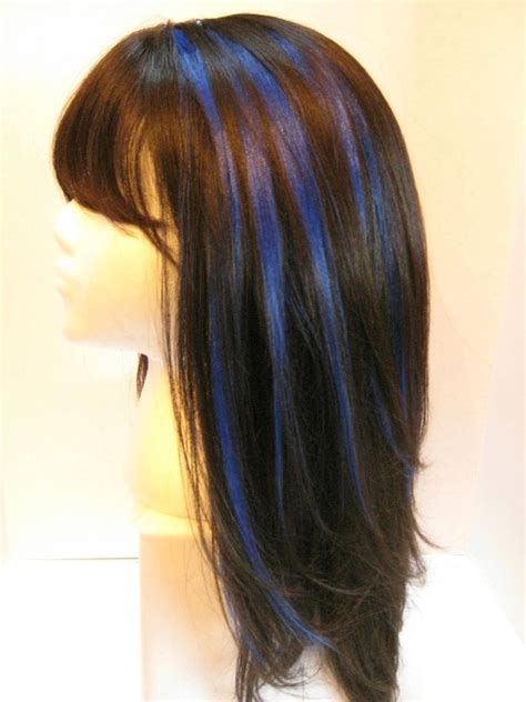 brown hair with blonde and blue highlights best 25 blue hair streaks ideas on pinterest