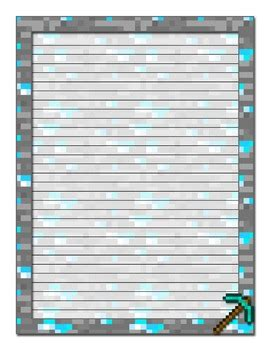 printable minecraft writing paper minecraft inspired printable stationery college ruled by