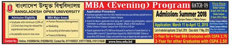 Bangladesh Open Mba Cost by Bangladesh Open Mba Evening Program All