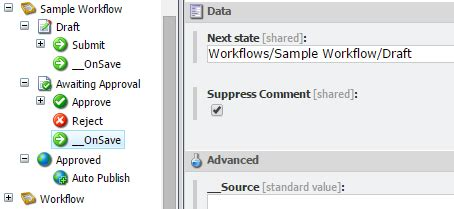 workflow command sitecore workflow onsave command