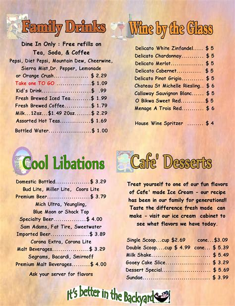 backyard menu the backyard cafe menu 187 backyard and yard design for village
