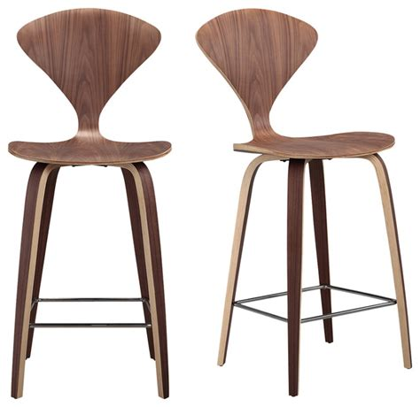 Stool Modern by Manta Modern Walnut Wood Bar Stools Set Of 2 Modern