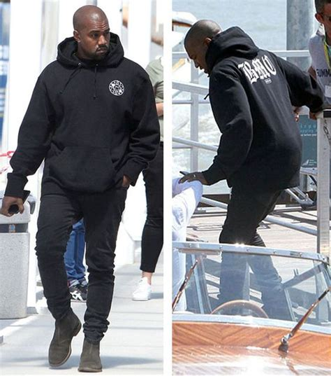 kanye west zip kanye west rocks hoodie from the hundreds x bromance