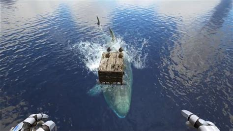ark alpha boat leedsichthys destroys raft youtube