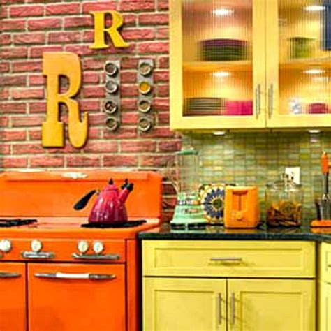 rachael ray kitchen appliances brick walls orange range rachael ray show kitchen hooked